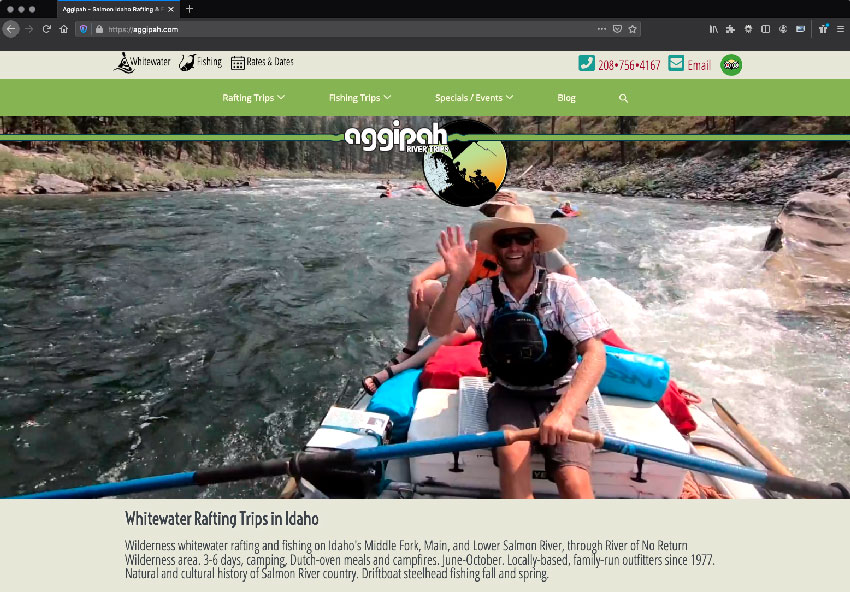 Screenshot: Aggipah - Whitewater River Trips website